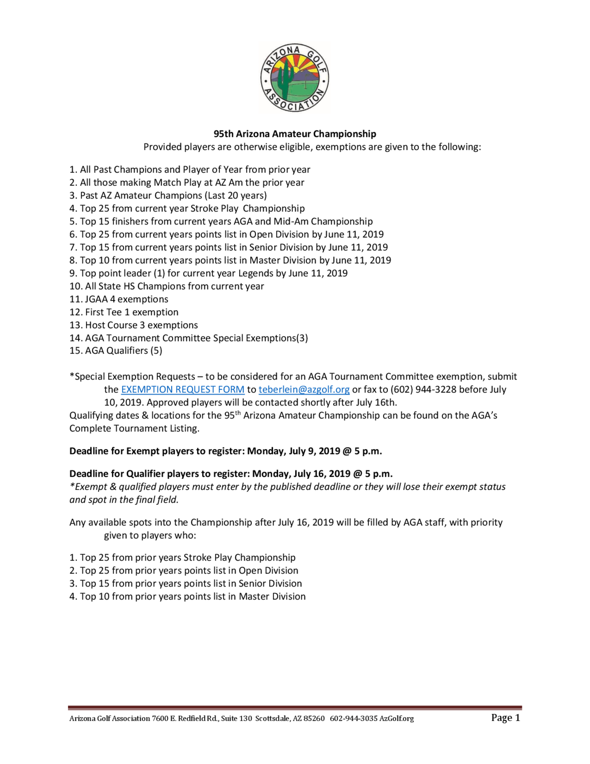 95th arizona amateur   exemption list 1