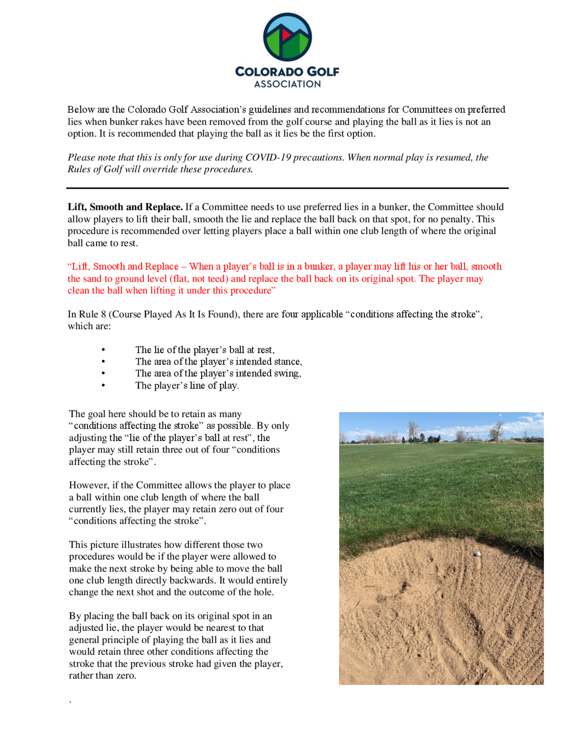 Lift clean and replace in a bunker   official wording   no penalty structure 1