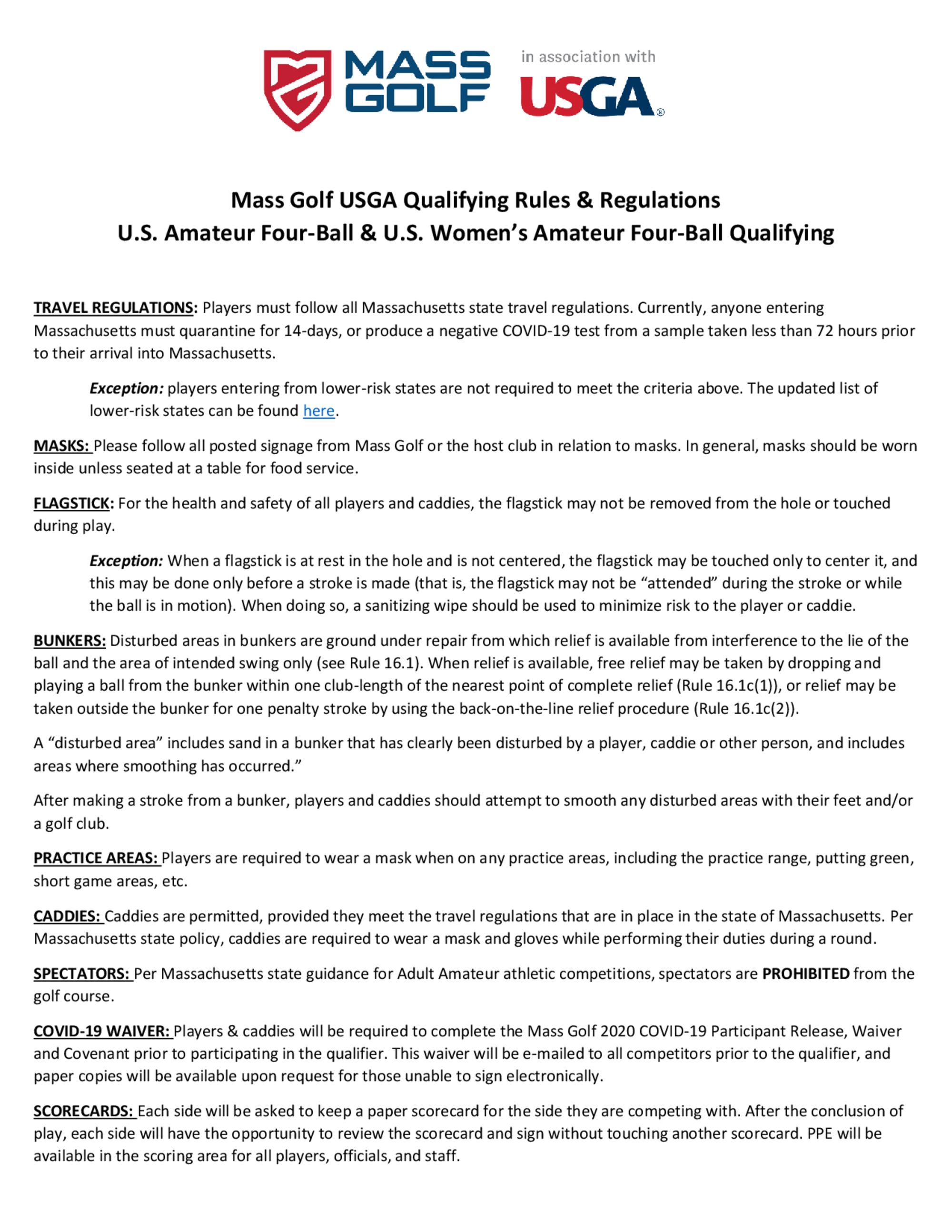Mass golf usga qualifying rules   regulations 1