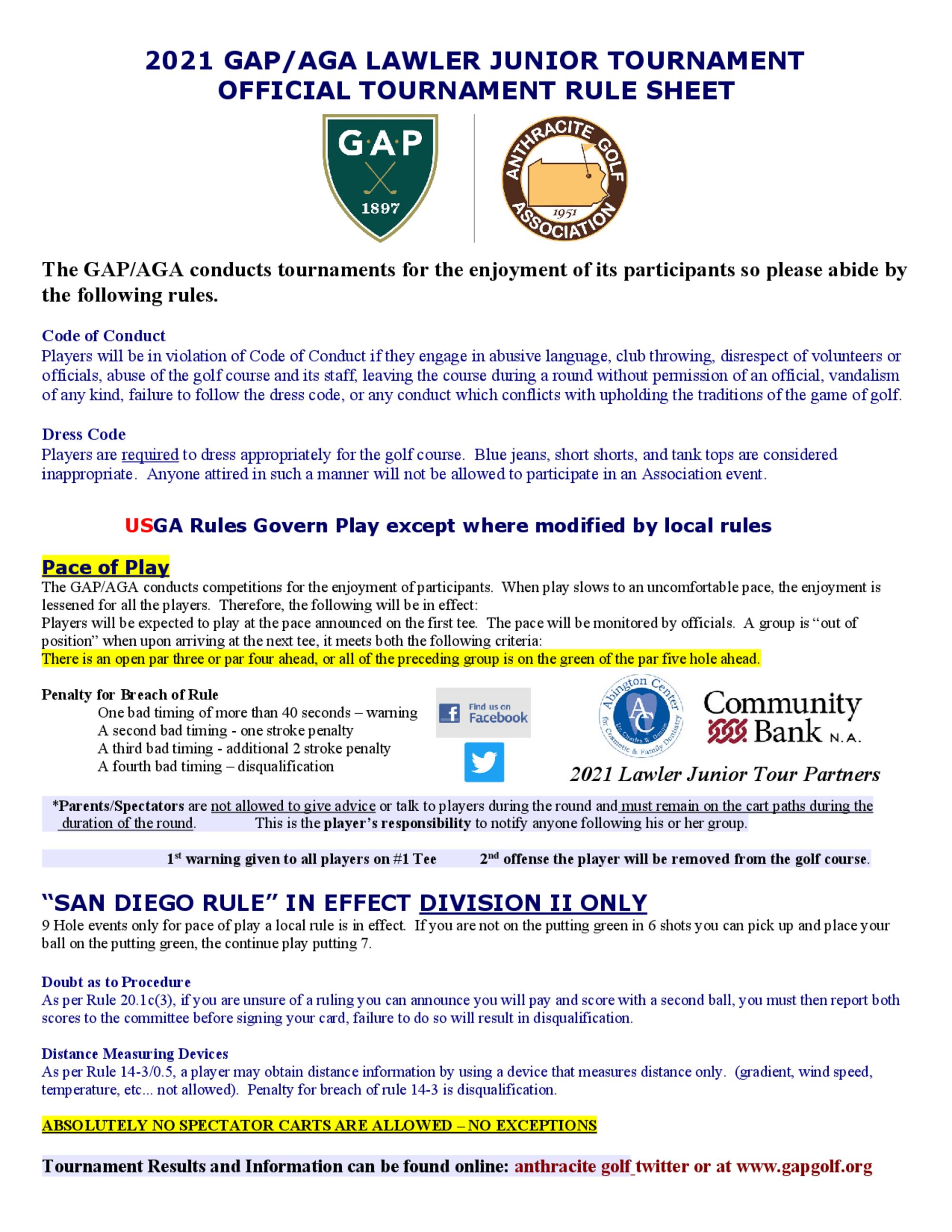 2021 lawler junior tour rules 1