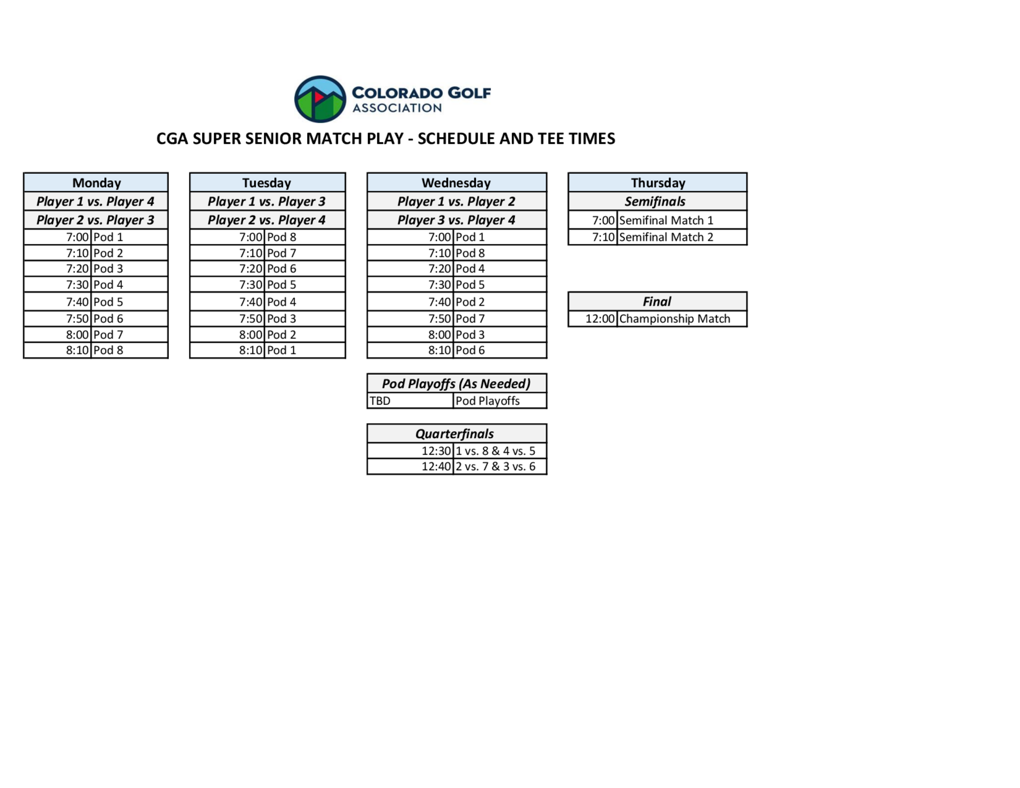 Super sr schedule and tee times 1