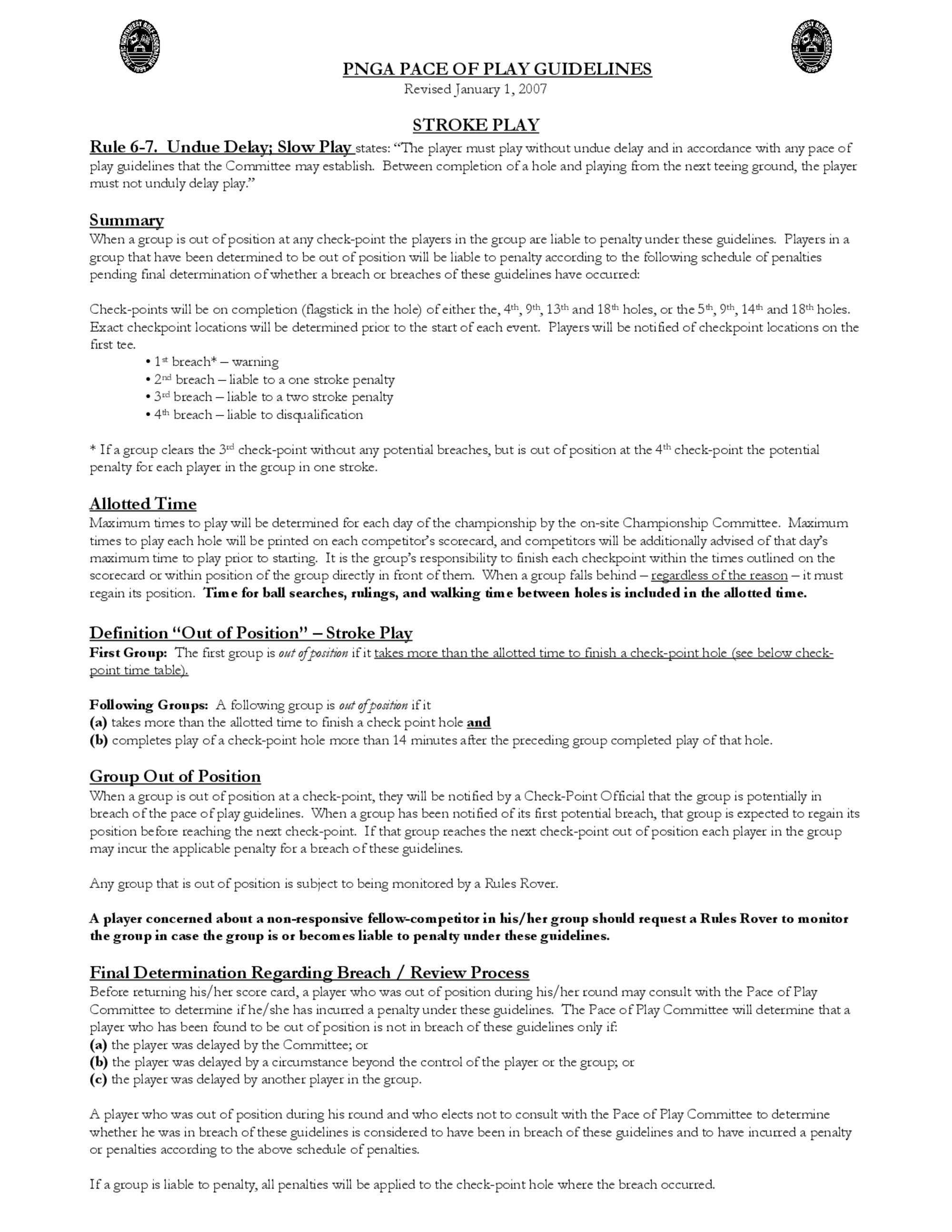 2007 pnga pace of play guidelines 1