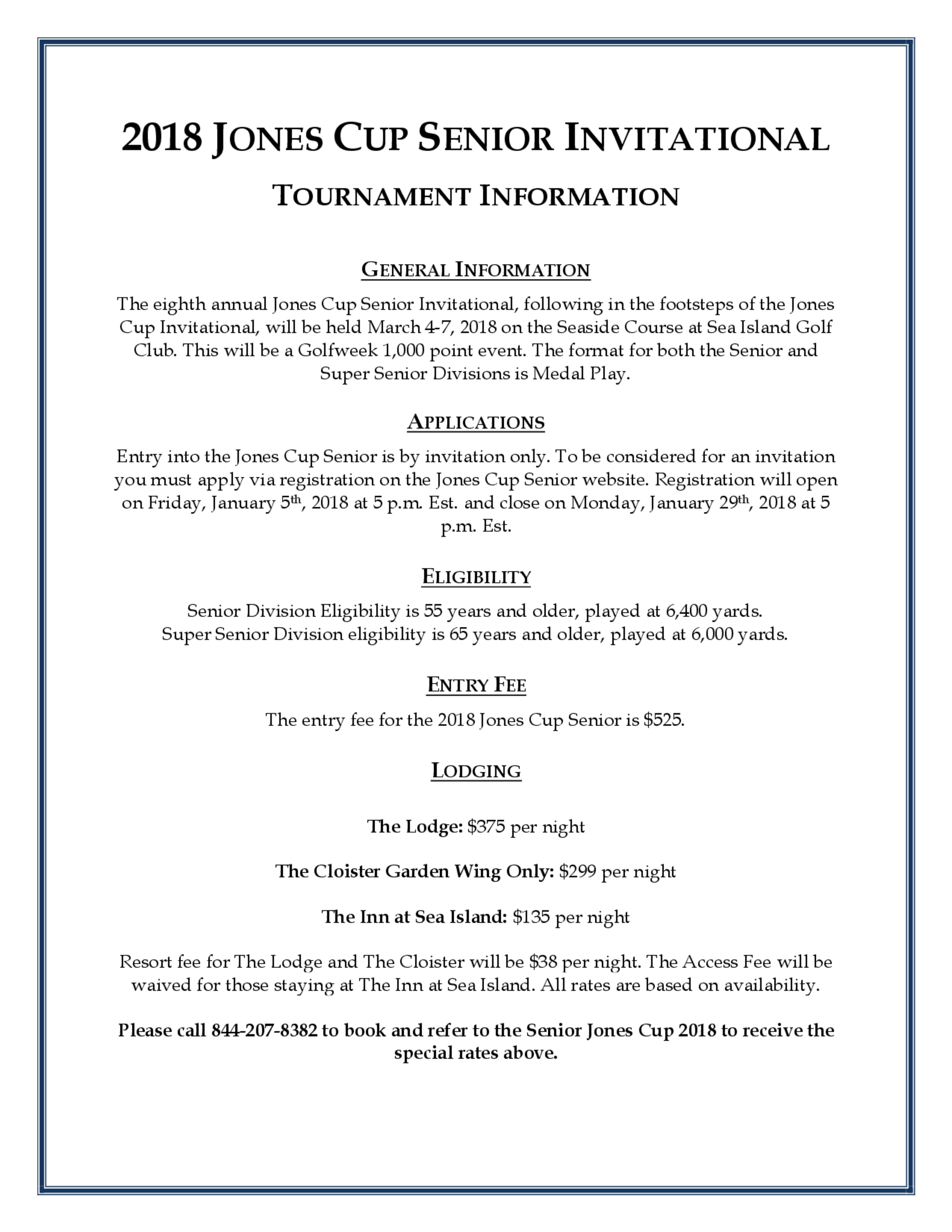 Tournament information 1
