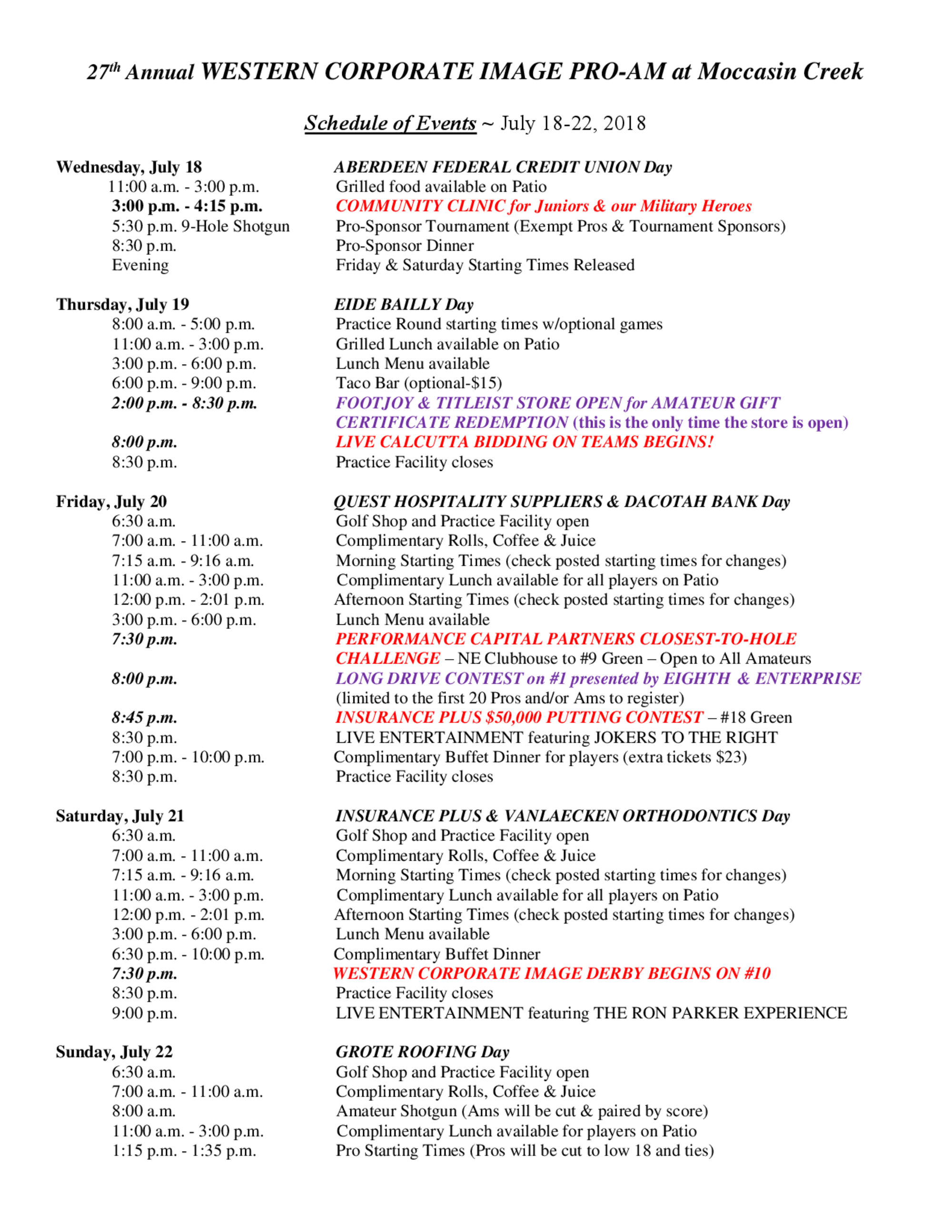 2018 schedule of events 1
