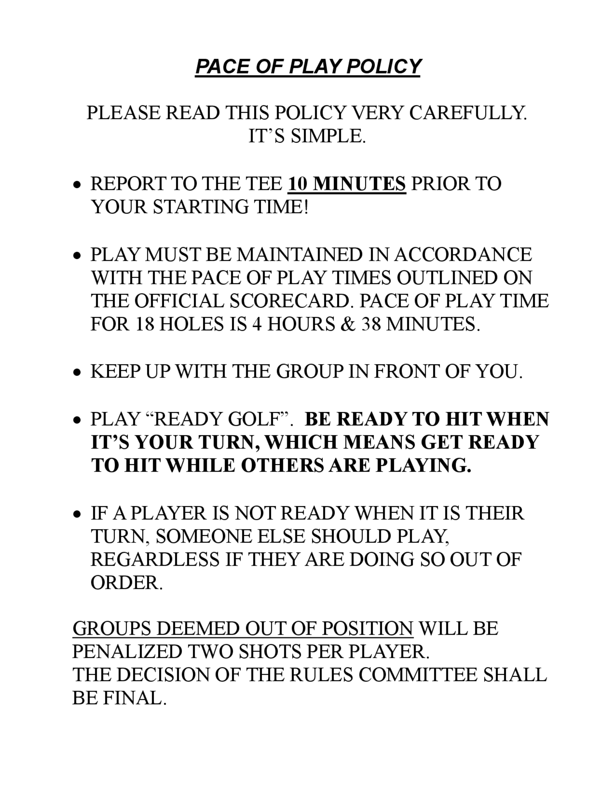Pace of play policy 1