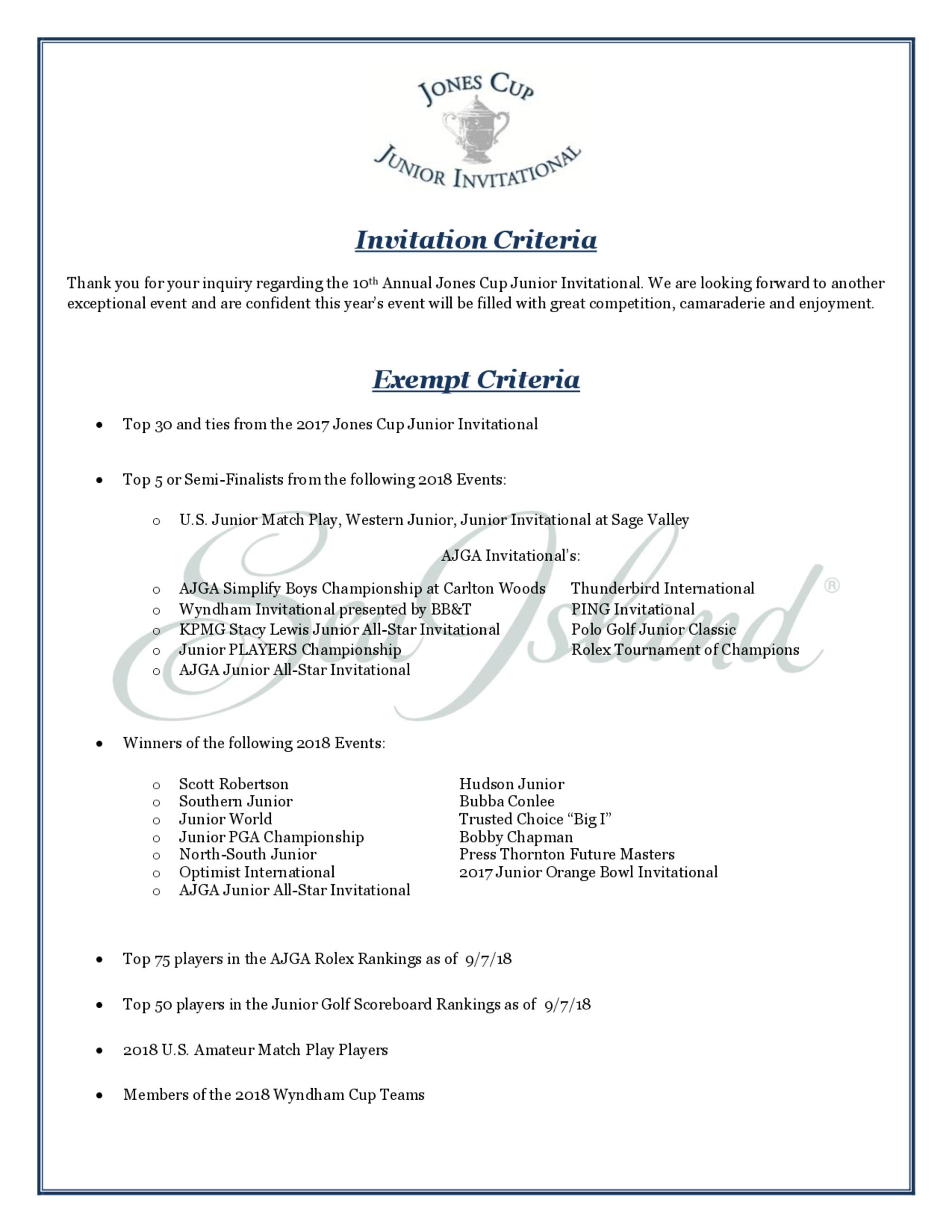 Invitation criteria for golf genius page 1