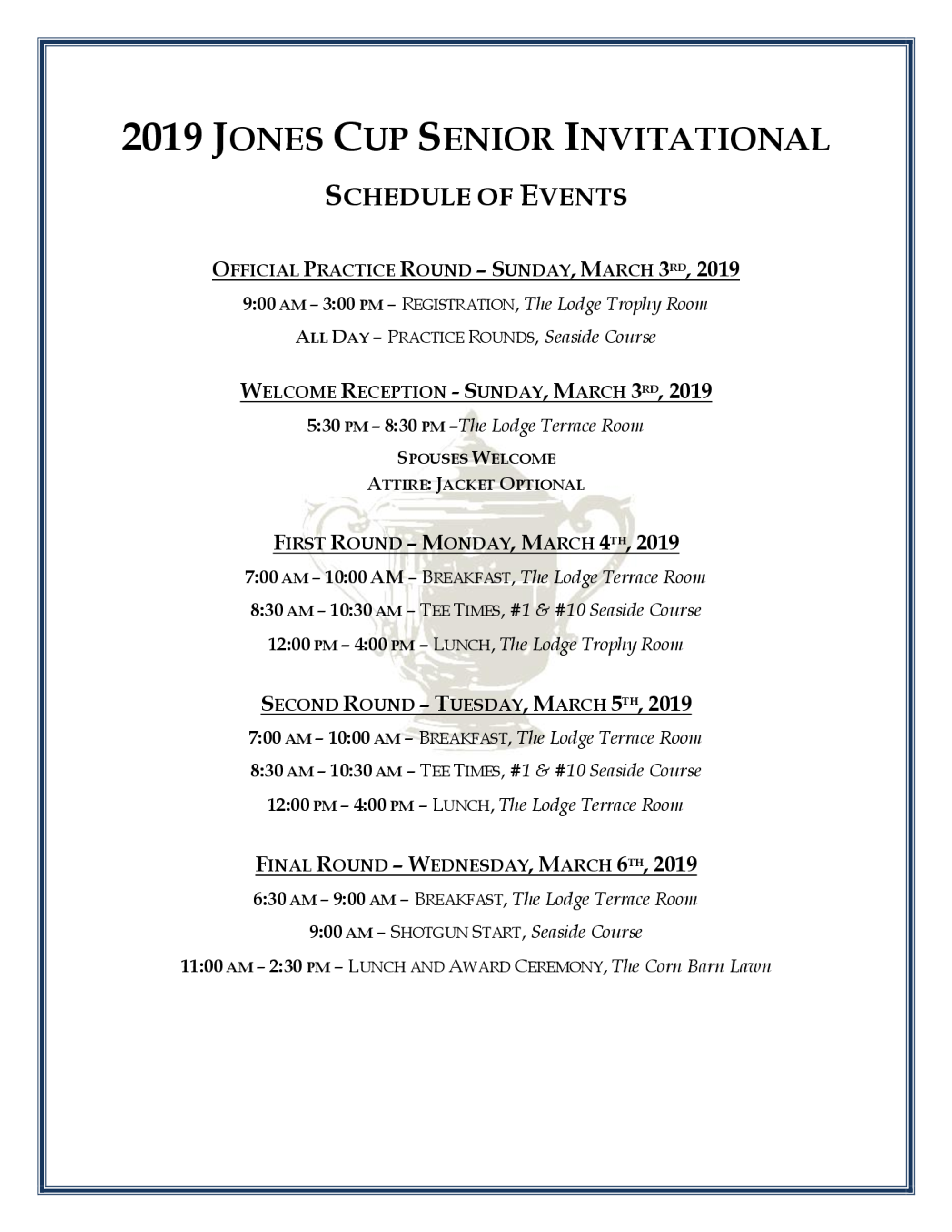 Schedule of events for golf genius page 2019 1