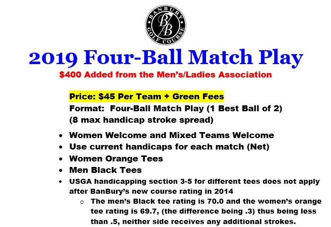 Four ball match play app flyer