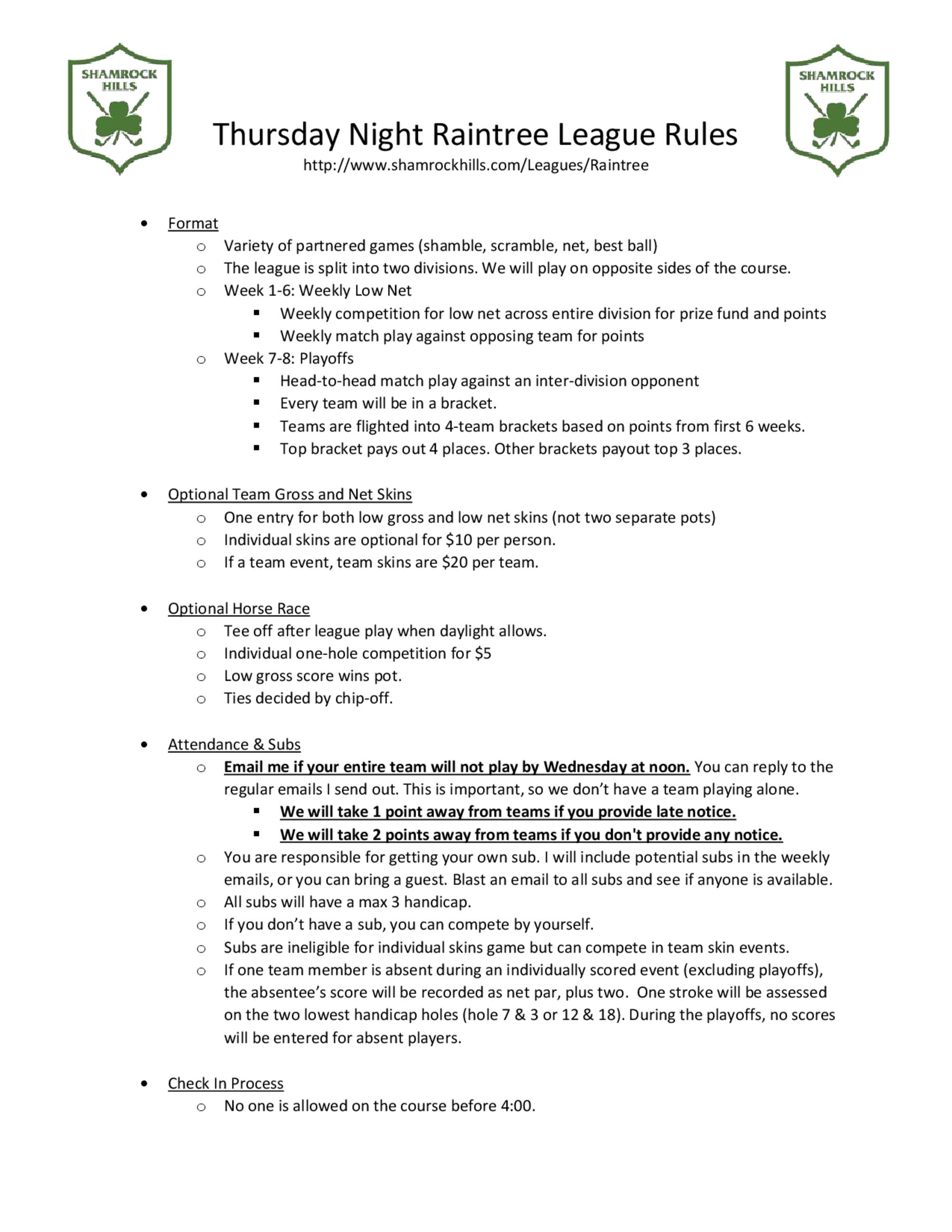 Raintree thursday evening league rules 1