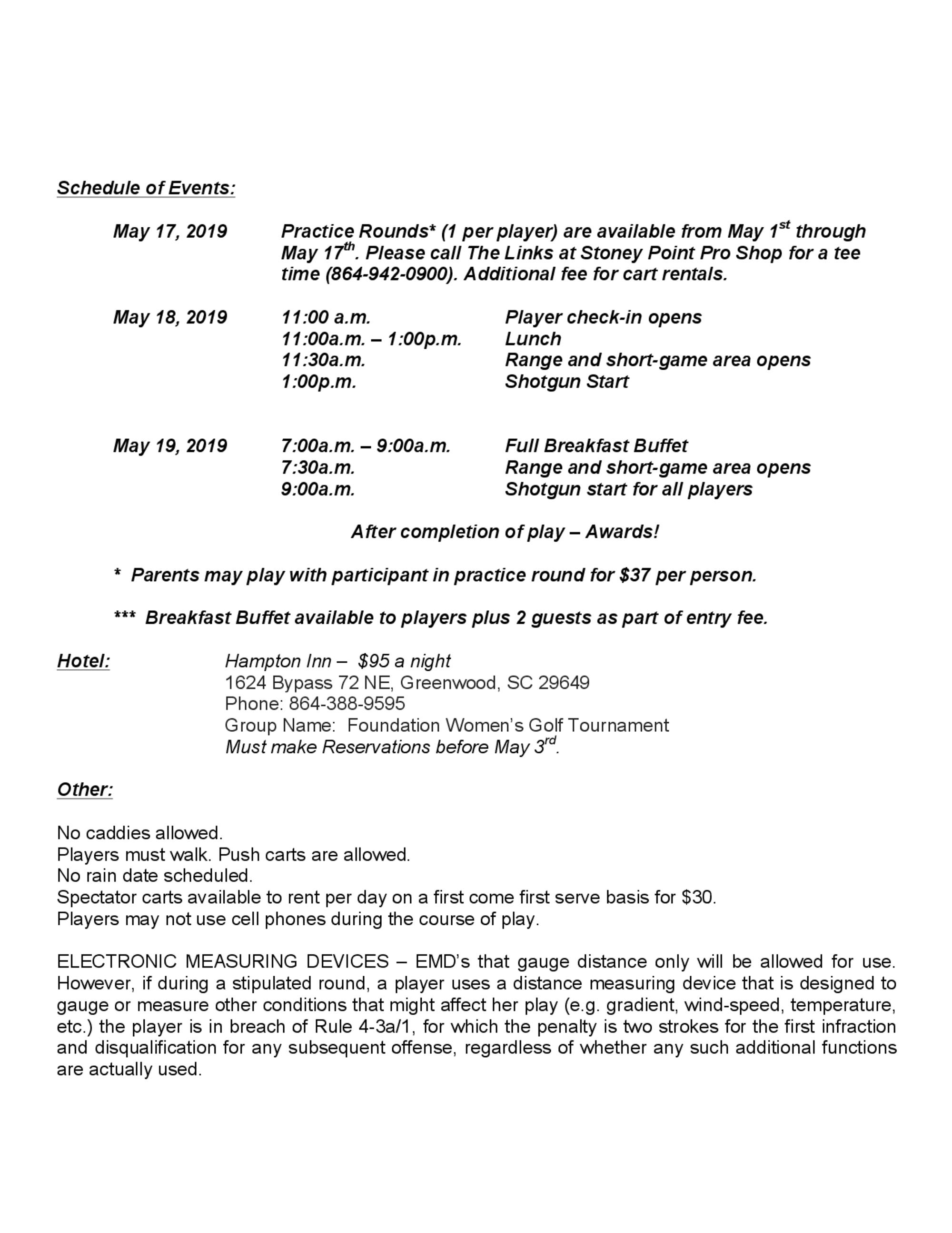Tournament info 2
