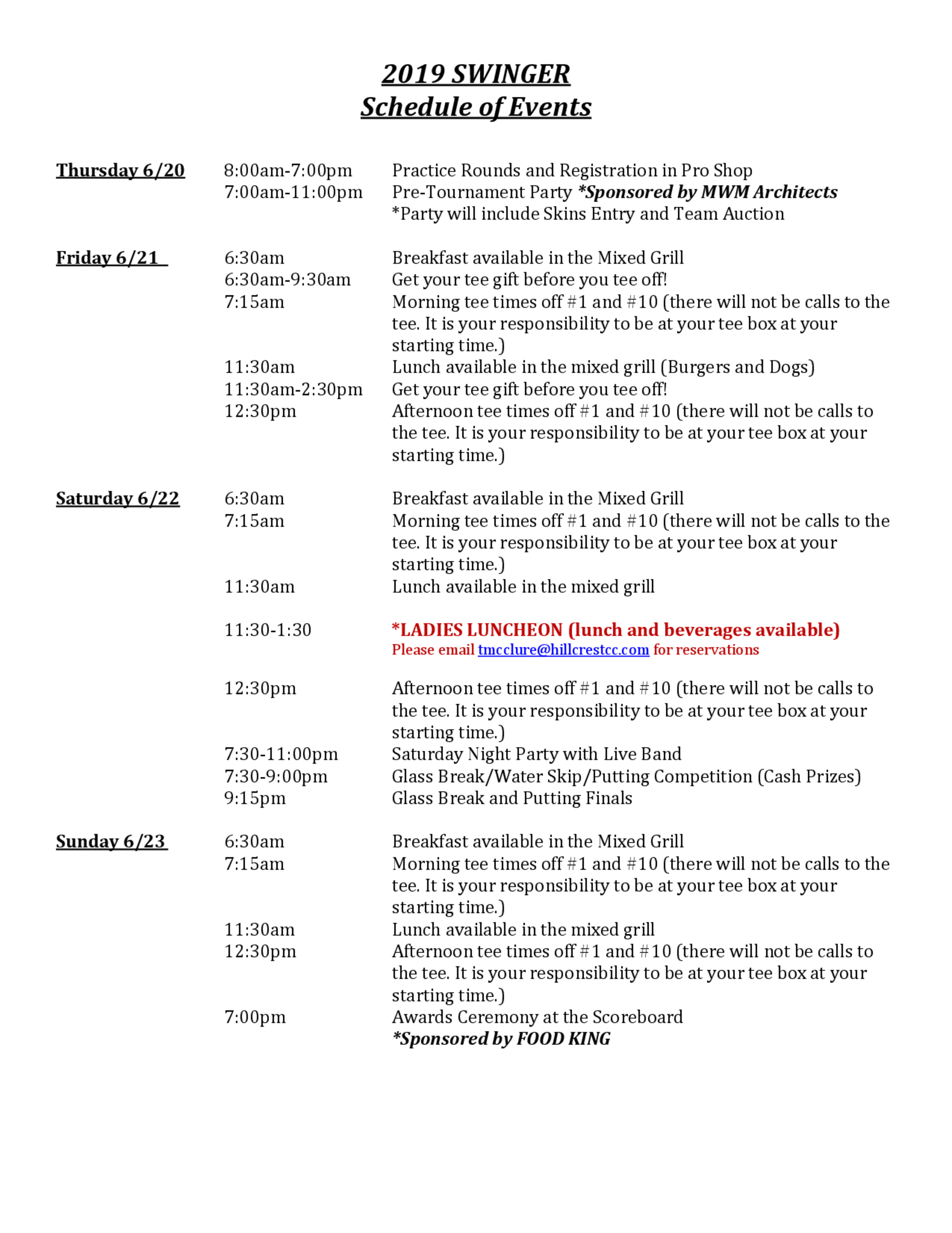 2019 schedule of events 1