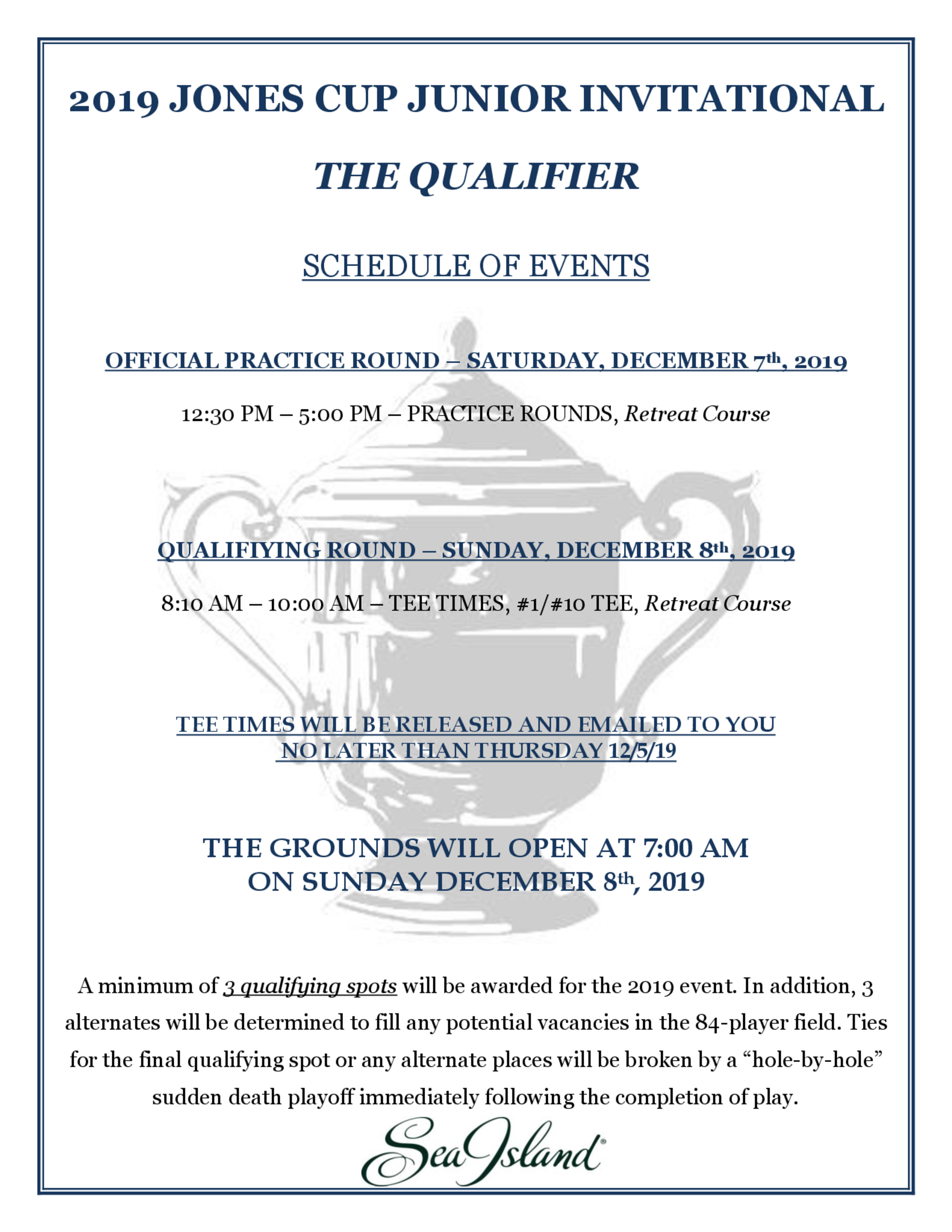 Qualifier schedule of events for golf geninus page 1