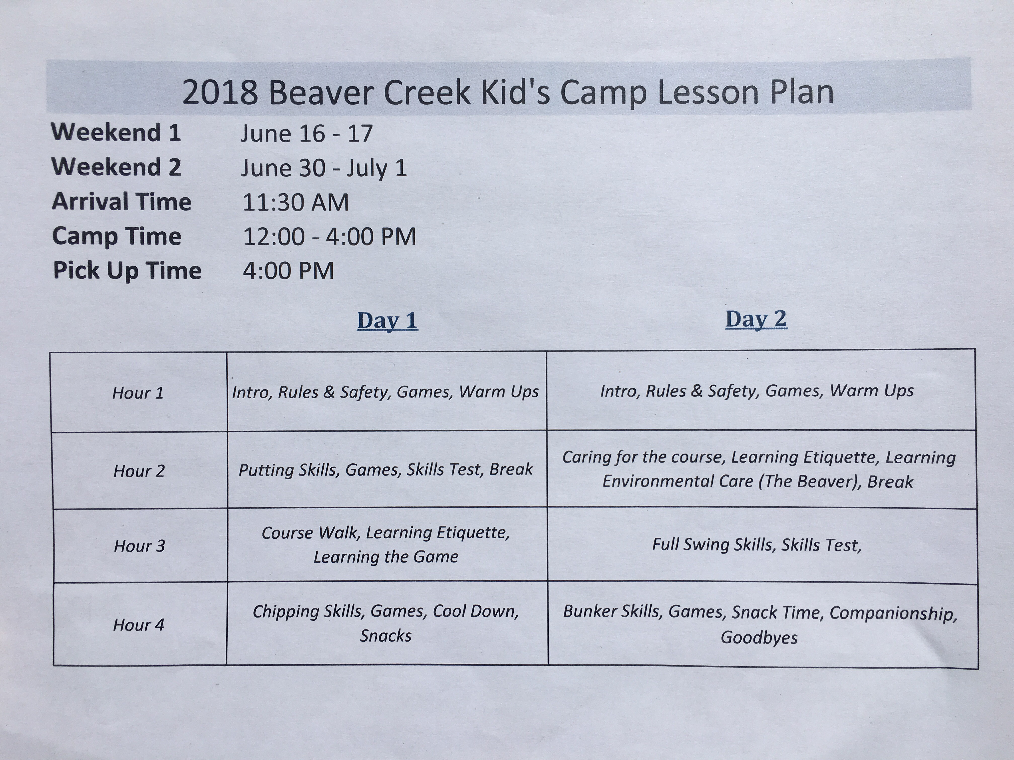 Kid s camp lesson plan