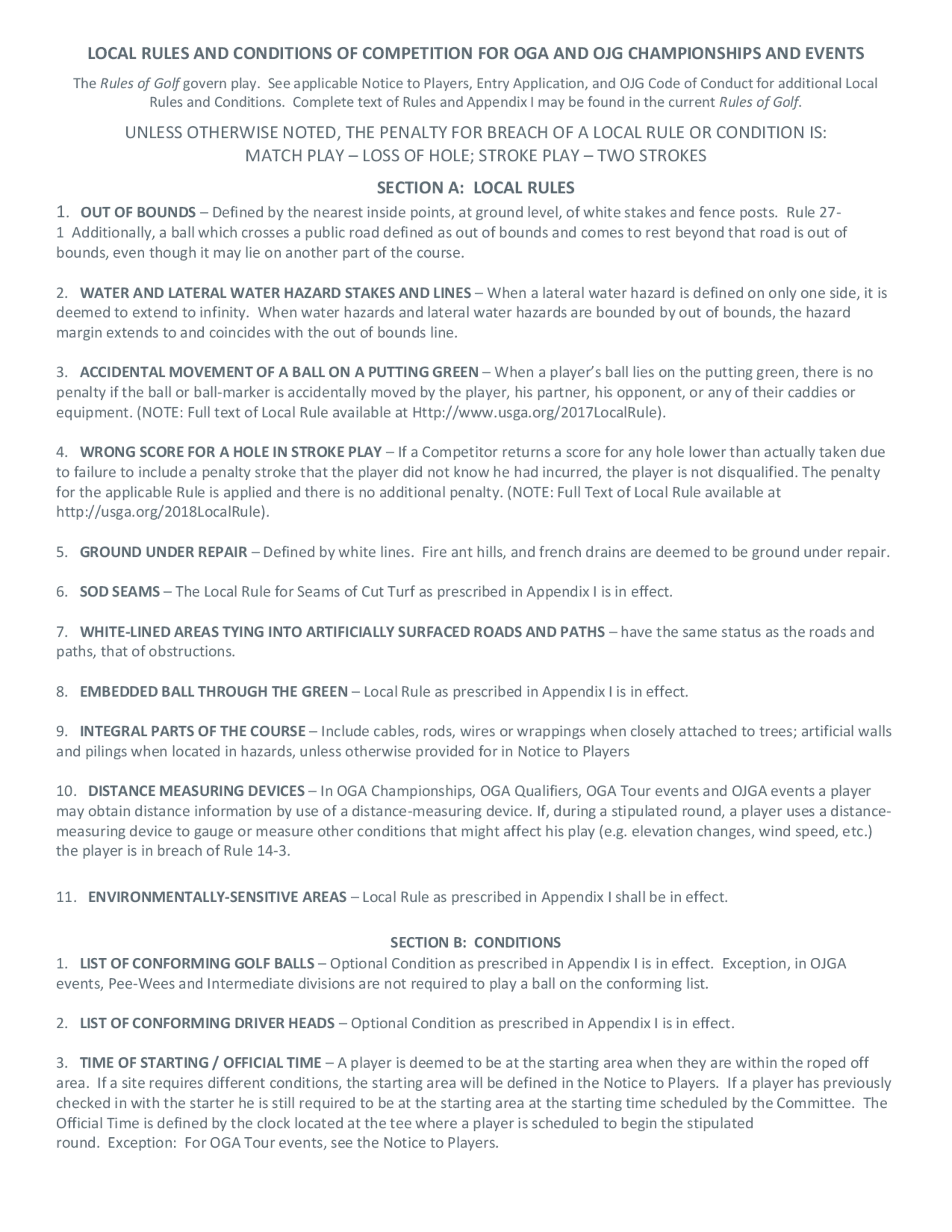 Oga local rules and conditions of competition 1