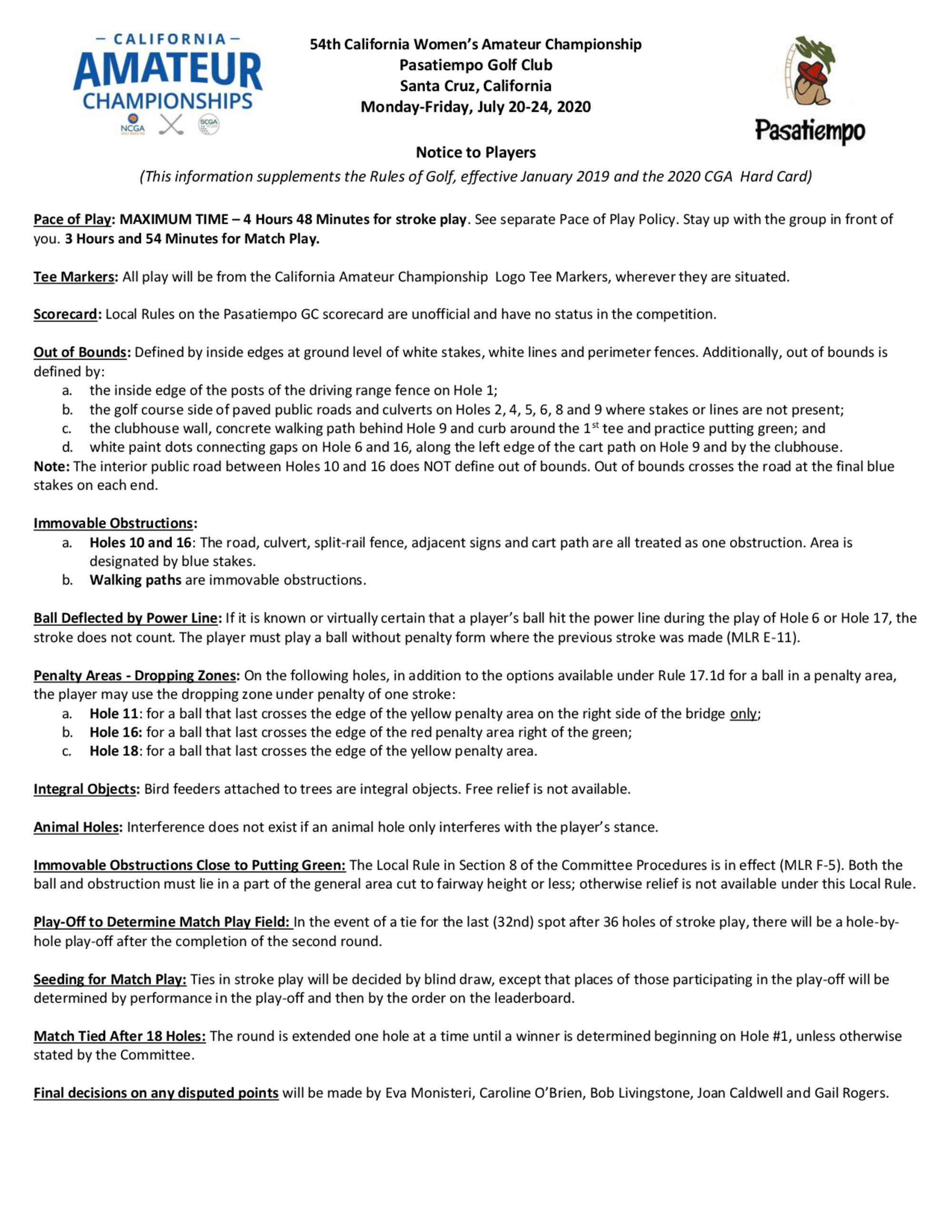 Notice to competitors 1