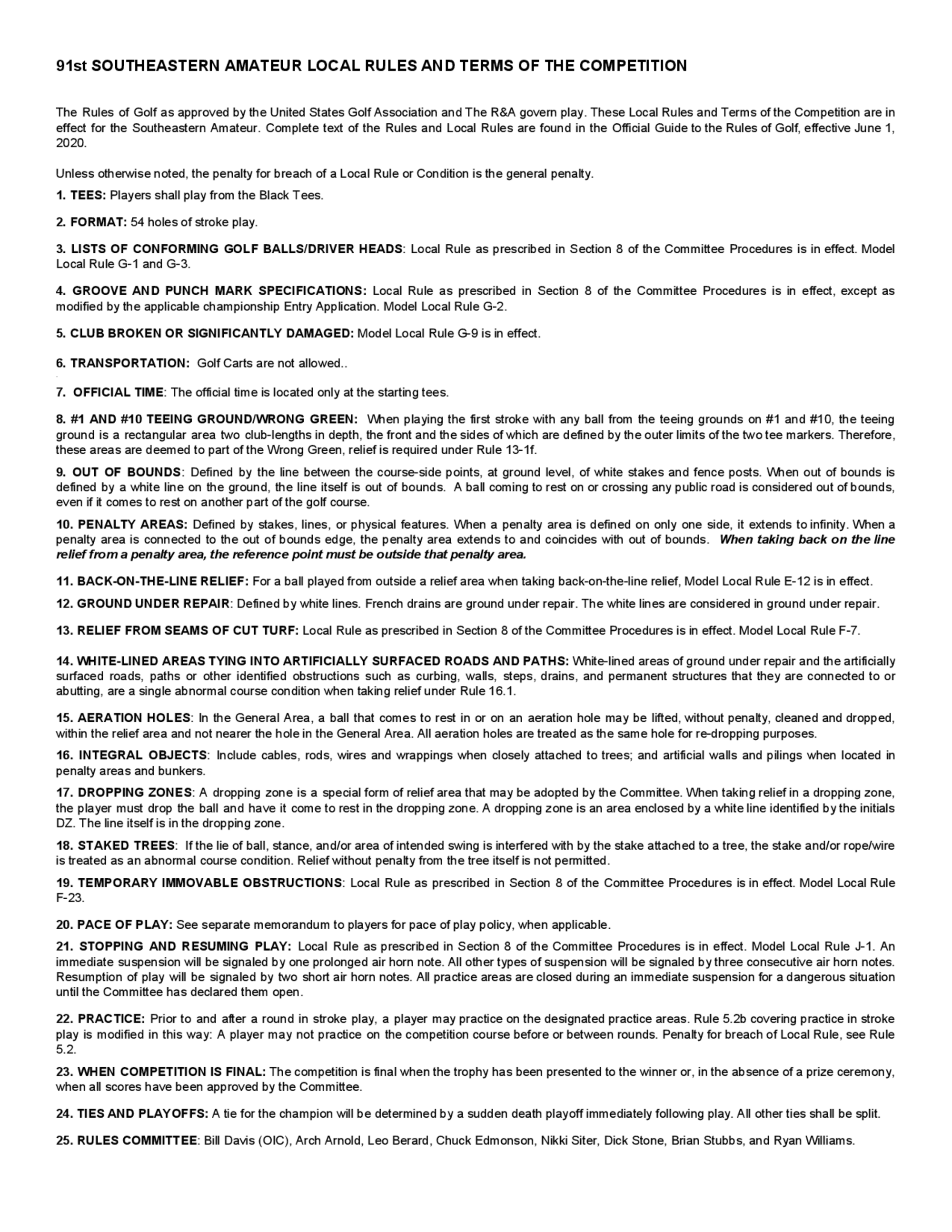 Local rules and conditions 1