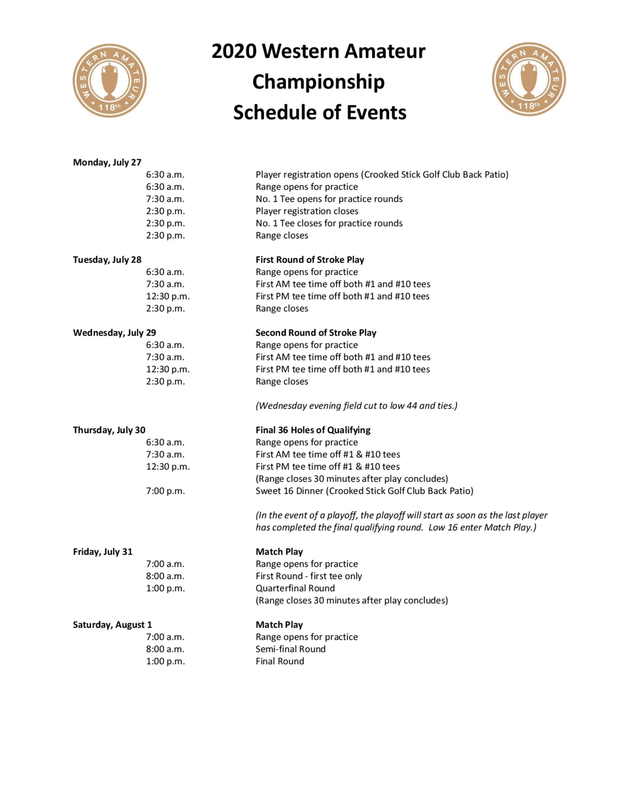 2020 western amateur schedule of events 1