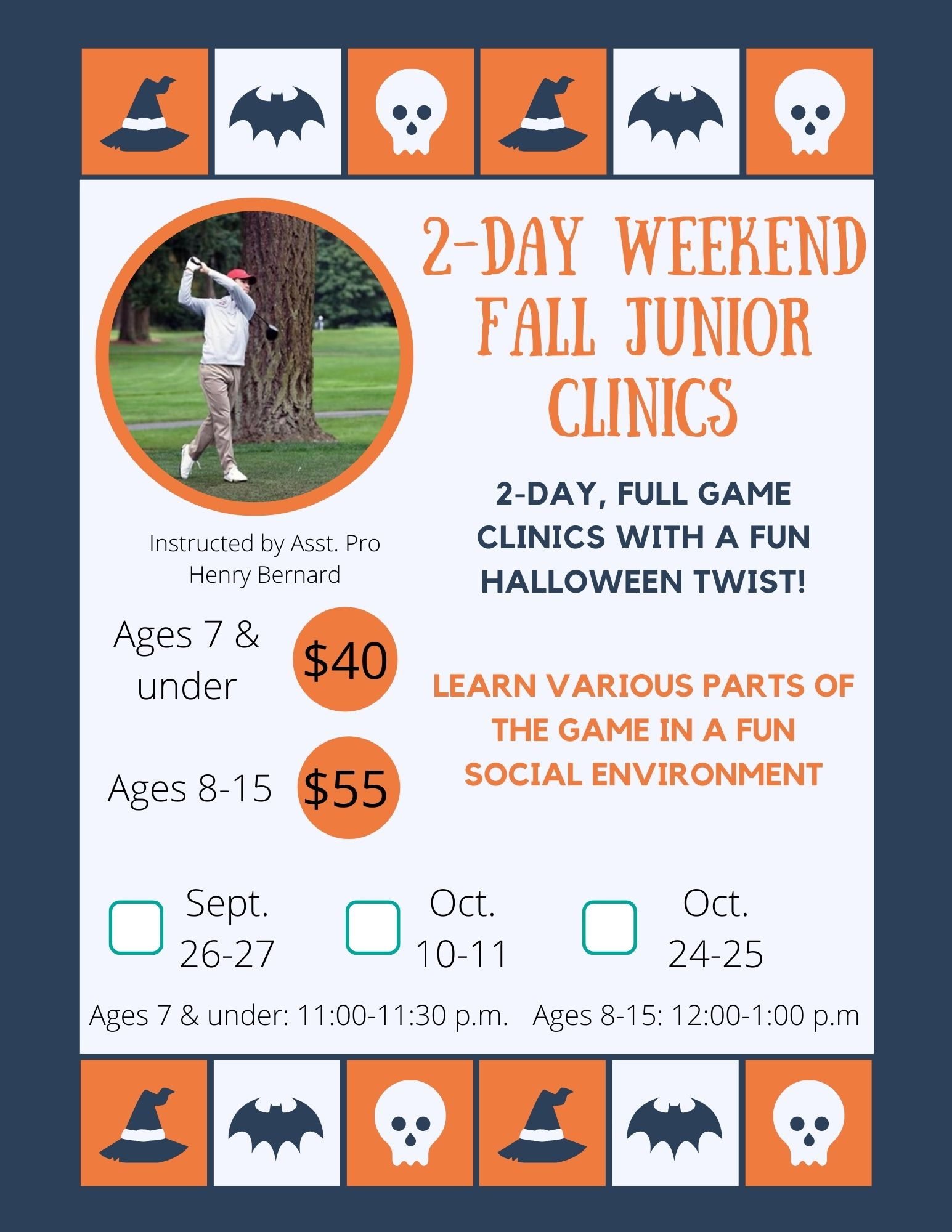 2 day weekend fall junior clinics