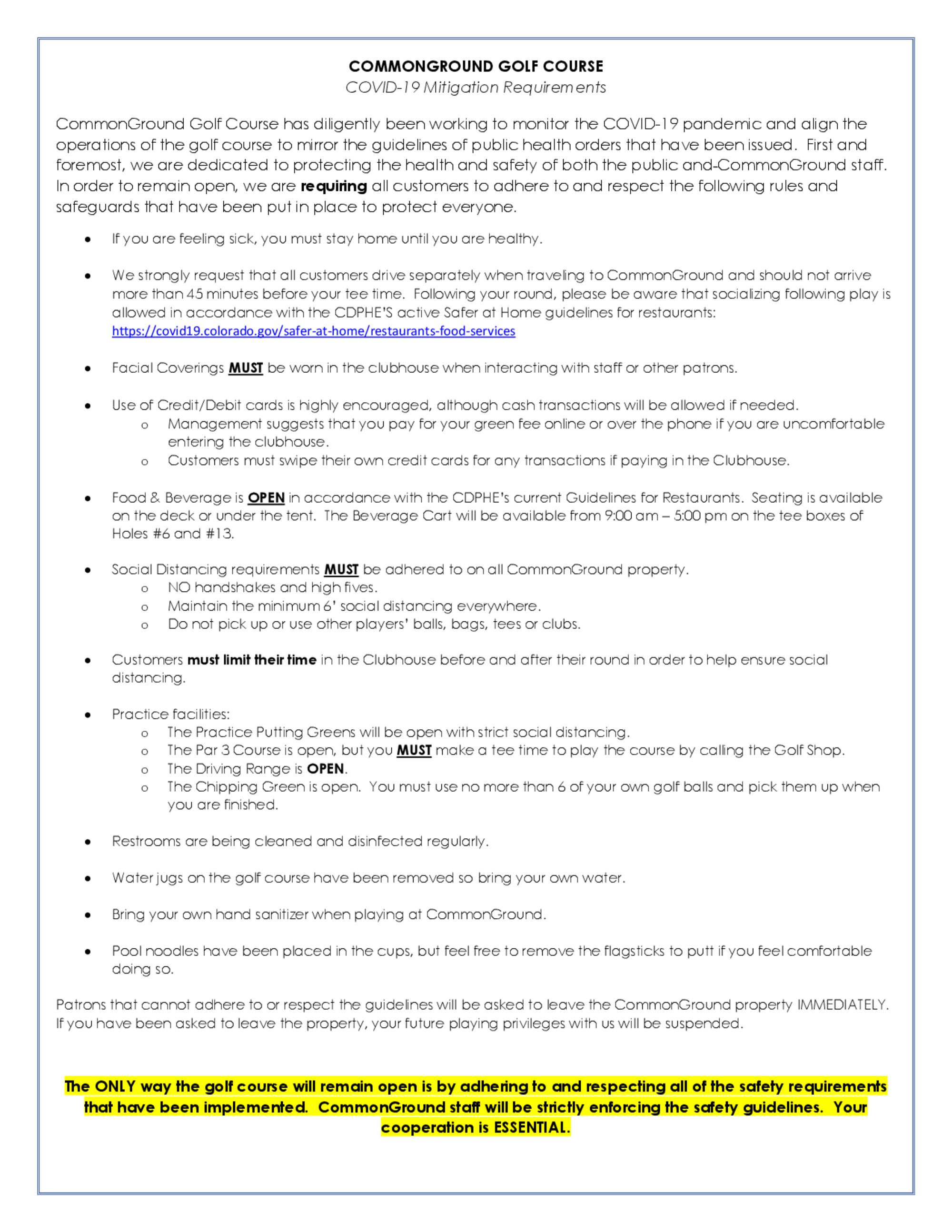 Commonground coronavirus mitigation requirements   august 11th  2020 1