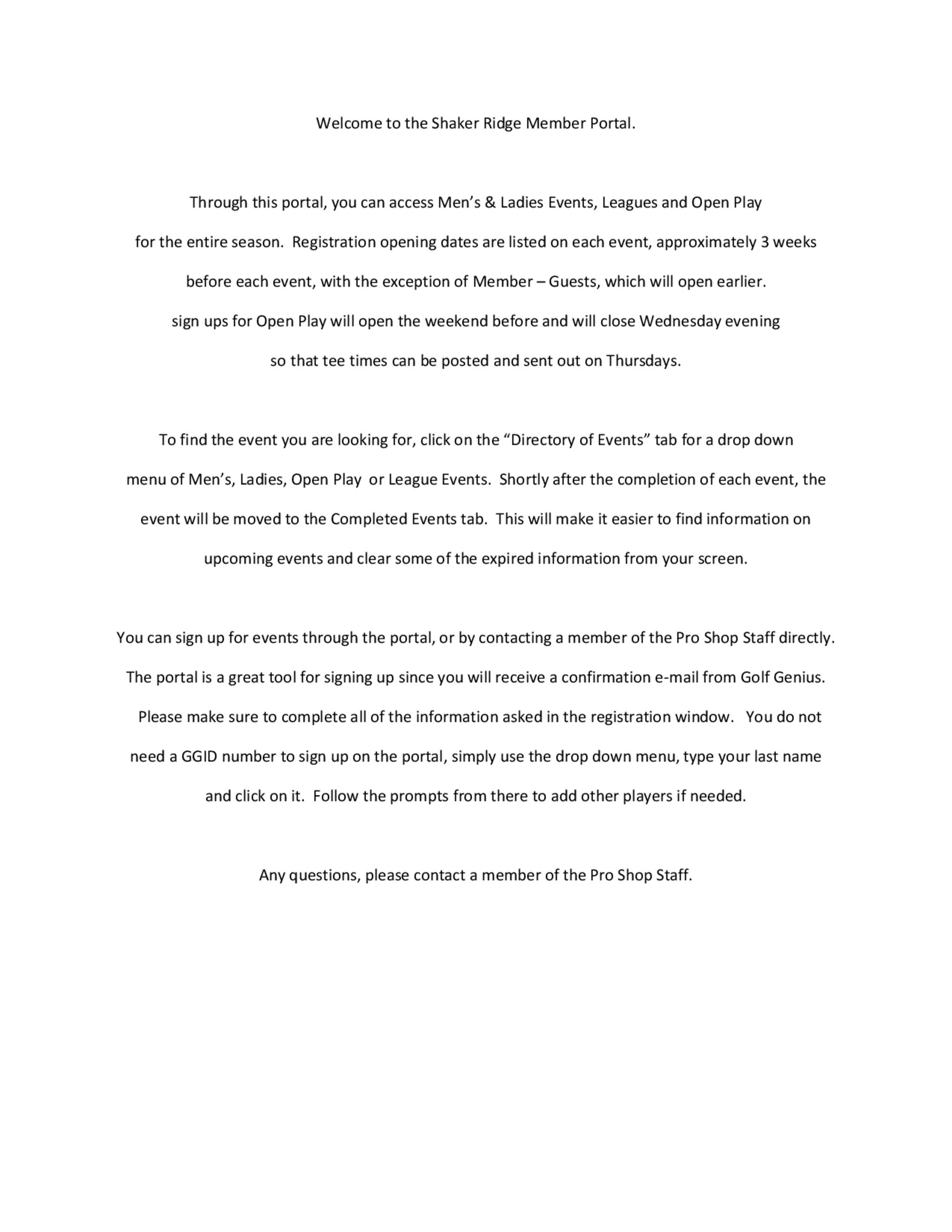 Welcome to the shaker ridge member portal pdf 1