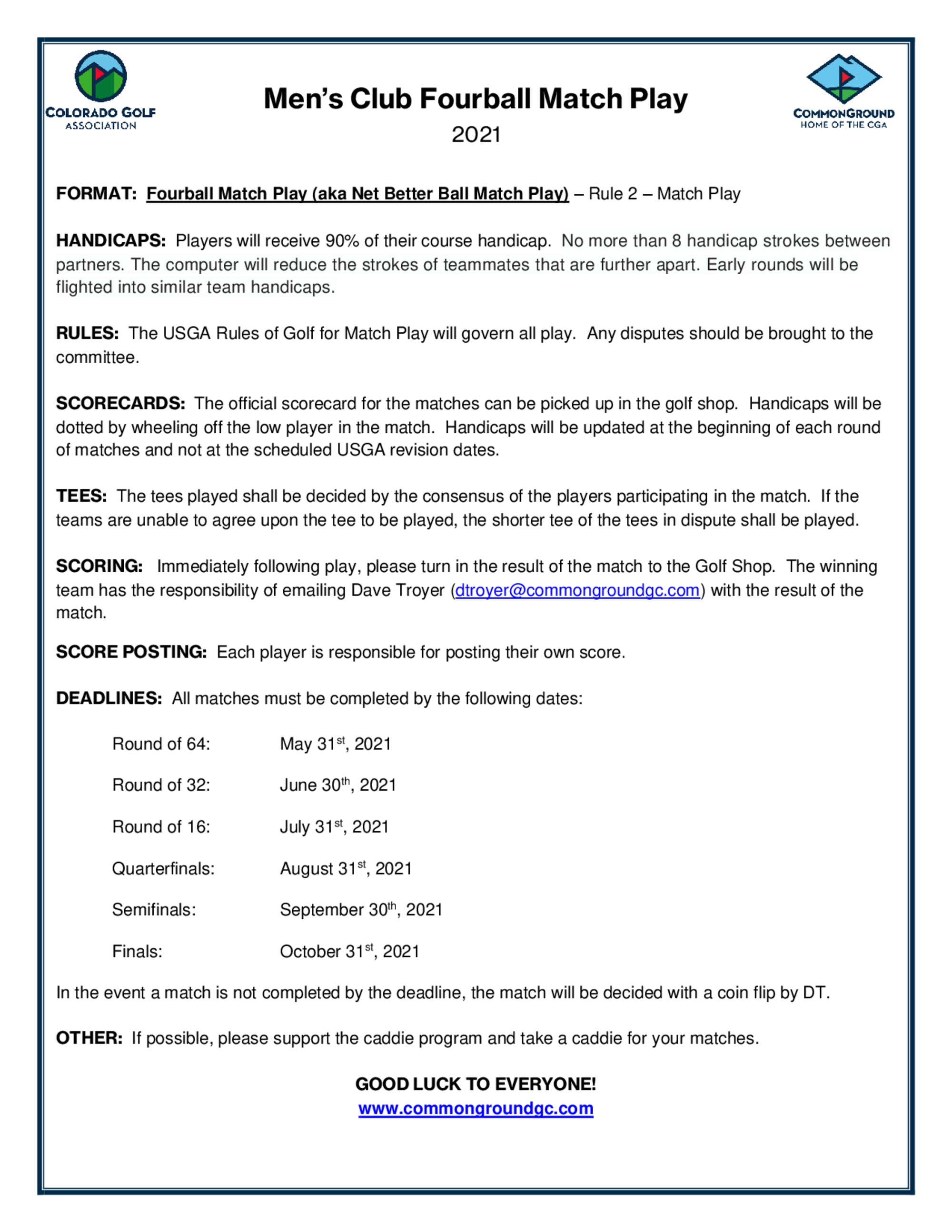 Rules and format fourball match play   2021 1