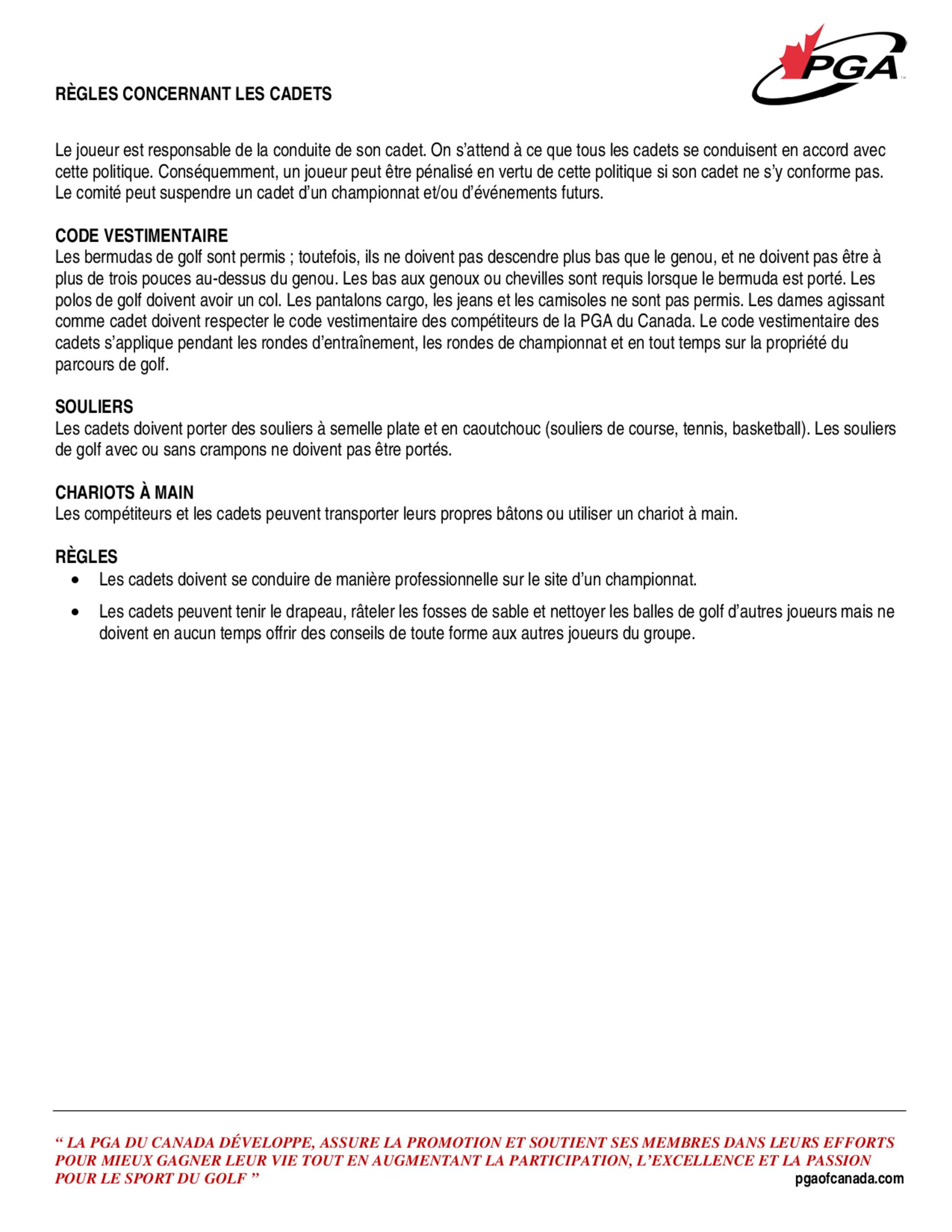 Caddie guidelines fr 1