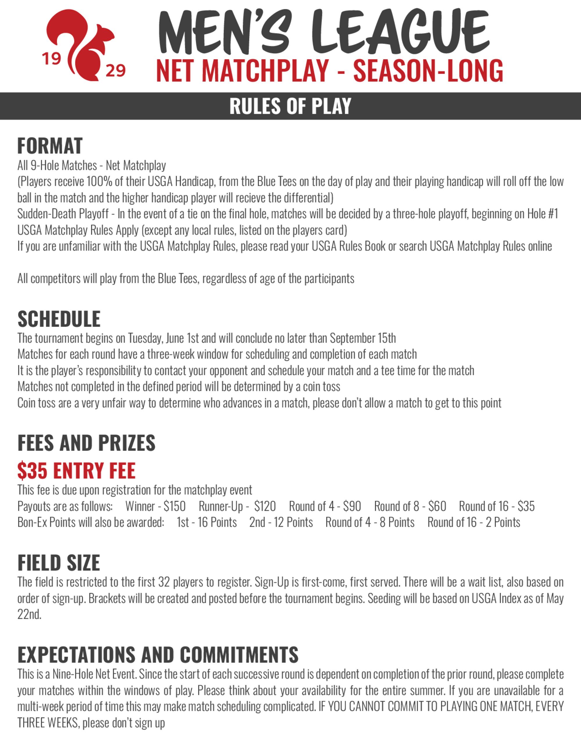 2021 men s league matchplay rules net 1