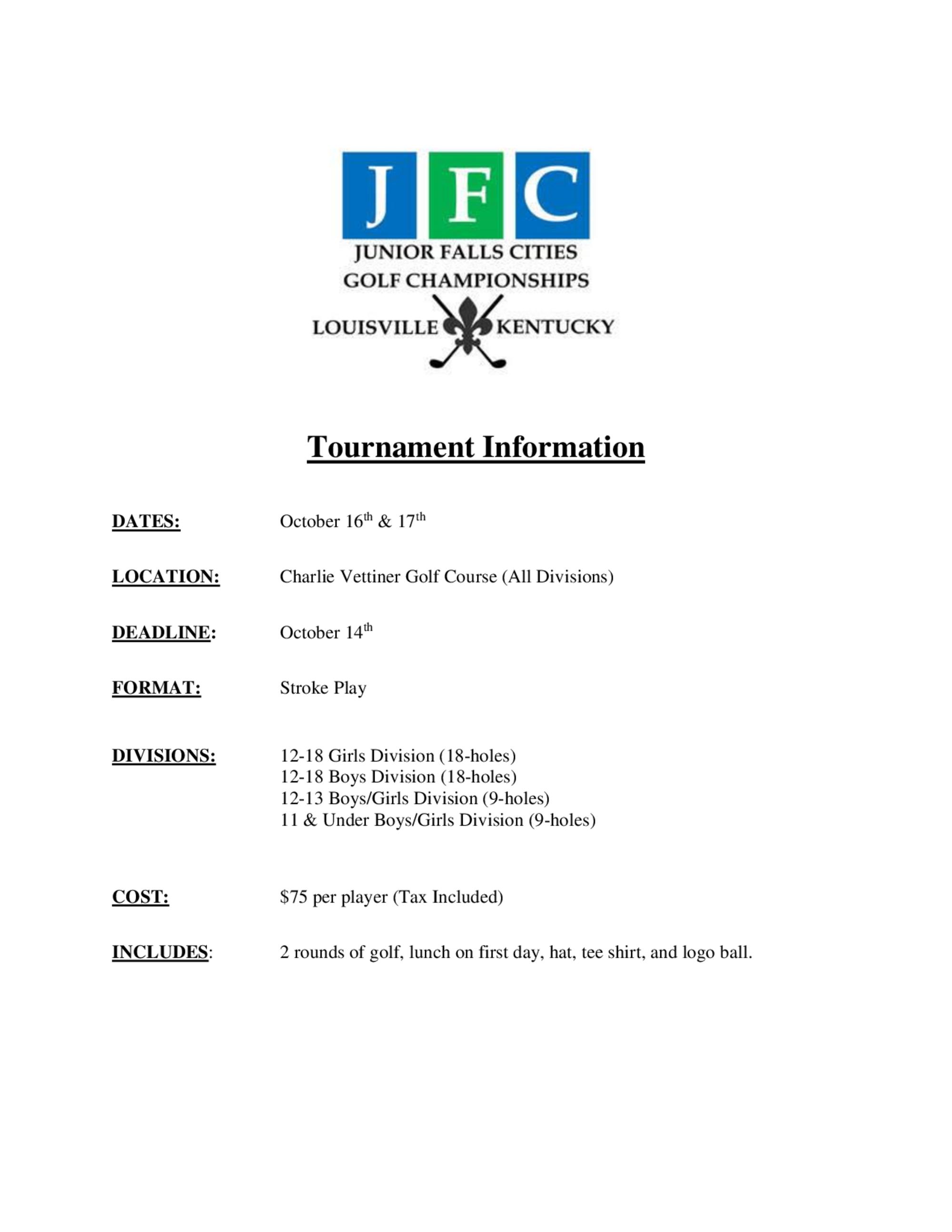 Tournament information 1