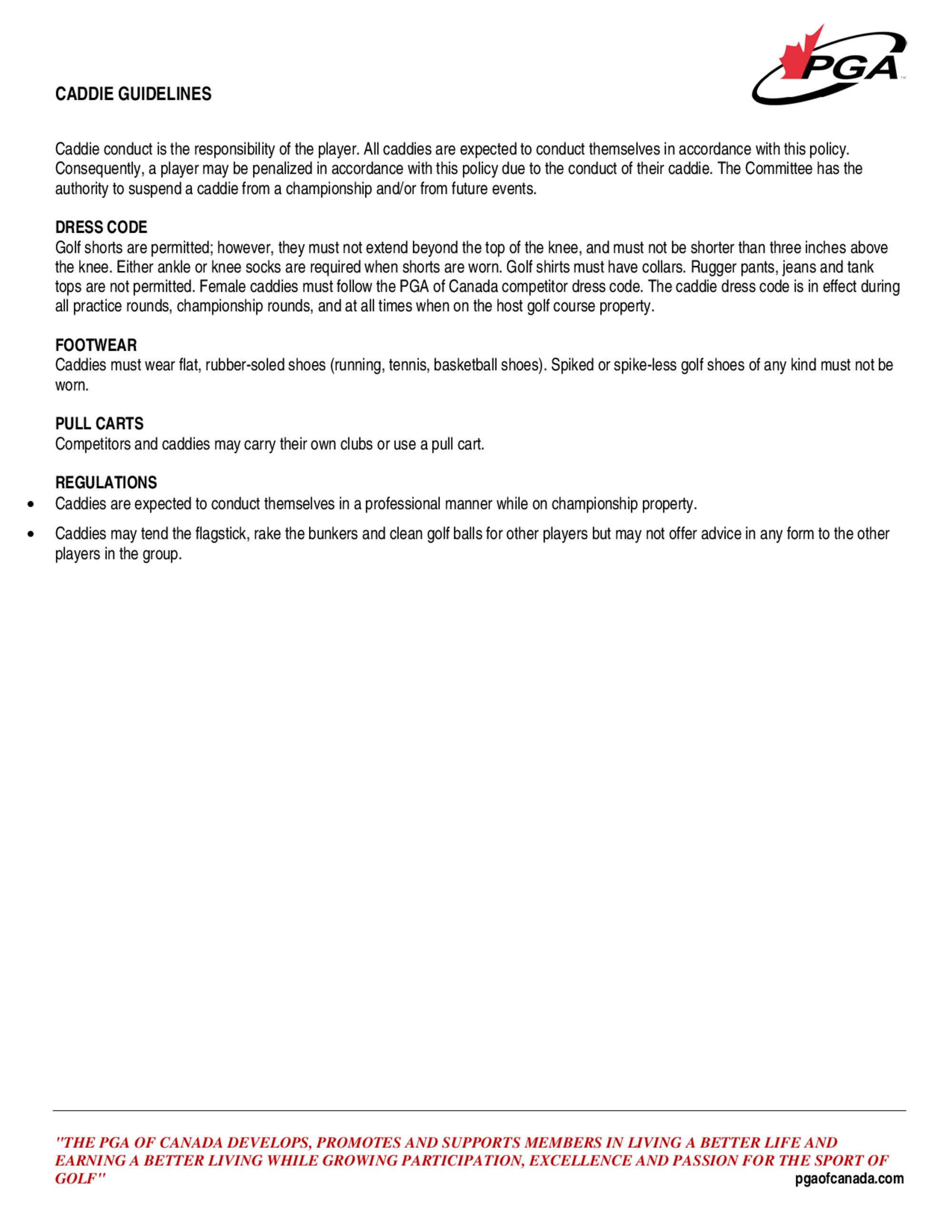 Caddie guidelines 1