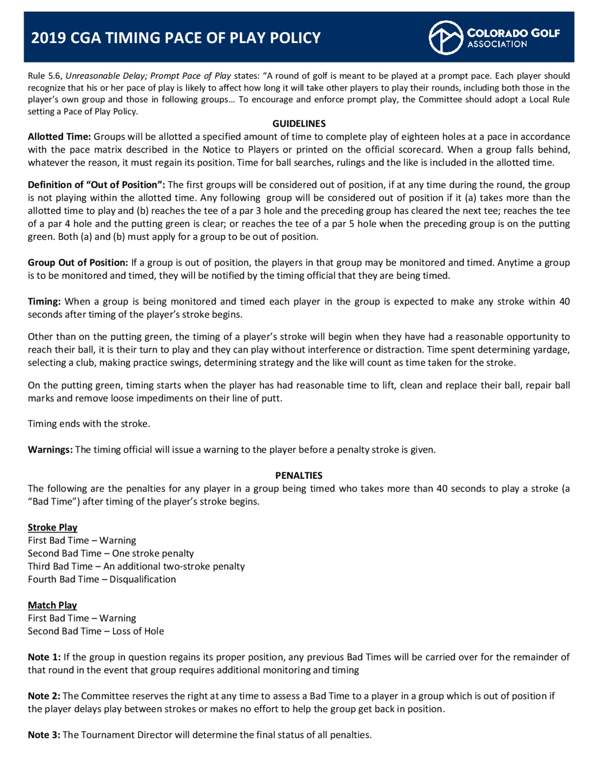 2019 usga warning timing policy 1