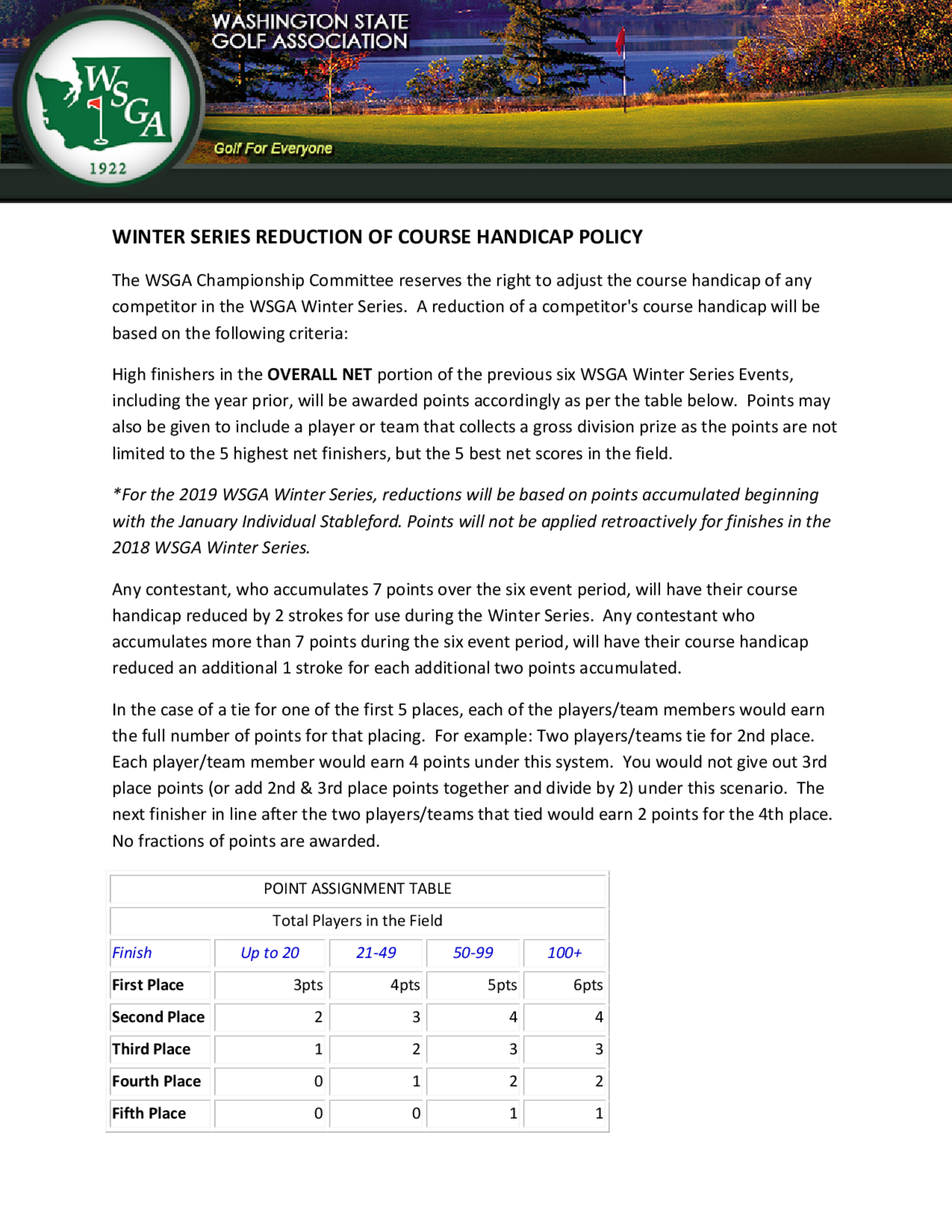 Wsga reduction of course handicap policy  winter series  1